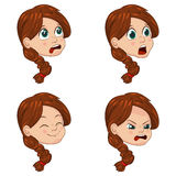 Vector Illustration set of cute little girl faces showing different emotions Royalty Free Stock Photography