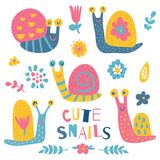 Snails. Vector illustration, set of cute snails, nursery art Royalty Free Stock Images