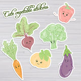 Vector illustration of set of cute vegetable stickers: beet, carrot, broccoli, pumpkin, pepper and eggplant on wooden backdrop Stock Photography