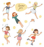 Vector illustration, set of cute young girls Stock Photos