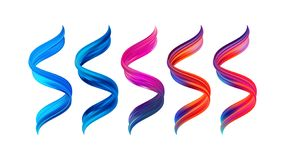 Vector illustration: Set of 3d twisted colorful flow liquid shape. Acrylic paint sroke. Modern design. Vector illustration: Set of 3d twisted colorful flow stock illustration