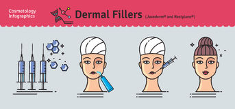 Vector Illustration set with dermal fillers Injections. Infographics with icons of medical cosmetic procedures for face skin Stock Photography