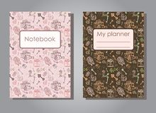 Vector illustration set design template of floral covers for planners and notebooks. Layout dark and light version of books, albums. Hand drawn creative Stock Image