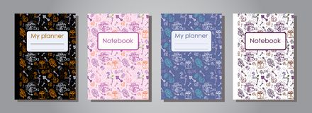 Vector Illustration Set Design Template Of Floral Covers For Planners And Notebooks. Stock Photo