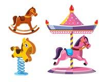 Vector illustration set of diferent rocking litle horses Stock Photo