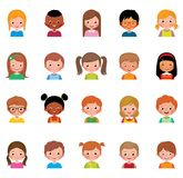 Vector illustration set of different avatars of boys and girls o. Set of avatars of different boys and girls/Icon set portraits of boys and girls  on white Royalty Free Stock Images