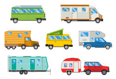 Vector illustration set of different campers travel car flat transport. Campers vacation travel car and campers car for summer travel. Vector illustration set Stock Photography
