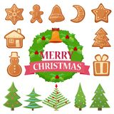 Vector illustration set of different Christmas cookies, cakes and trees with wreath. Vector illustration set of different Christmas cookies, cakes and trees Royalty Free Stock Photography