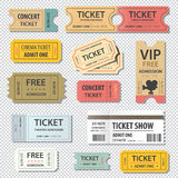 Vector illustration set of different movie show ticket Stock Photo