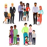 Vector illustration set of different nationals couples and families. People of different races, nationalities white vector illustration