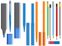 Vector illustration of set of different pens Stock Photos