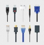 Vector illustration set of different plugs and wires, color various audio connectors and inputs collection on stock illustration
