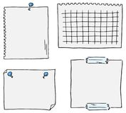 Set of different scribbled notepads with free space Royalty Free Stock Images