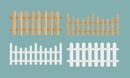 Vector illustration set of the different wood fences in natural color texture and white color. stock illustration