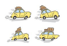Set of distorted yellow retro cars with luggage on the roof on white background. Vector illustration: Set of distorted yellow retro cars with luggage on the Royalty Free Stock Image