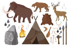 Vector illustration of set of elements of stone age people life. Primitive man lifestyle, anicent animals. Ice age. Primitive Collection of weapon. Mammoth vector illustration