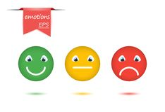 Vector illustration set of emotions. The concept of evaluation in faces and color emoticons, positive, neutral, negative. royalty free illustration