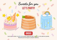 Vector illustration set of fancy cakes stock image