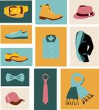 Vector illustration set of fashion accessories and men clothing style. Vector illustration set of fashion accessories and style men clothing and shoes Royalty Free Stock Photography