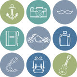 Vector illustration set of fashion accessories and men clothing style Stock Photos