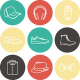 Vector illustration set of fashion accessories and men clothing style Royalty Free Stock Photo