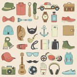 Vector illustration set of fashion accessories and style men clothing. And accessories Stock Photography