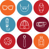 Vector illustration set of fashion accessories and style men clothing Stock Image