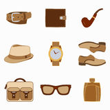 Vector illustration set of fashion accessories and style men clothing Stock Photography