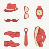 Vector illustration set of fashion accessories and style men clothing Stock Photos
