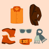 Vector illustration set of fashion accessories and style men clothing Royalty Free Stock Photos
