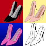 Vector illustration set of female high-heeled shoes. On colorful backgrounds Royalty Free Stock Image