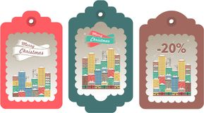 Set of christmas tags. Vector illustration set of festive christmas tags winter evening city Royalty Free Stock Photography