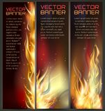 Illustration of set of fire flame banner Stock Photos