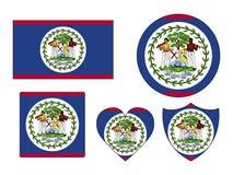Set of Flags of Belize vector illustration