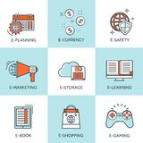 Vector illustration. Set of flat backgrounds with lined borders. Internet browsing, cloud computing, Coding, programming stock illustration