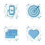 Vector illustration set of flat bold line icons with star - favorite sign, shield - web security, 24 7. Vector business illustration set of flat bold line icons Royalty Free Stock Photo