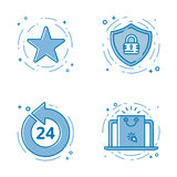 Vector illustration set of flat bold line icons with star - favorite sign, shield - web security, 24 7. Royalty Free Stock Photography