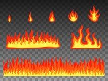Vector illustration set flat cartoon fire flame Royalty Free Stock Photos