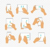 Vector illustration set of flat hand icons showing commonly used multi-touch gestures for touchscreen tablets or royalty free illustration