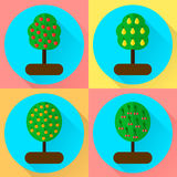 Vector illustration. set flat round icon fruit trees. appple, or Stock Photos