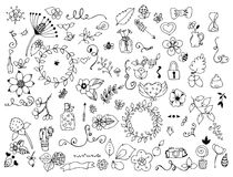 Vector illustration Set of flower doodles Coloring book is anti-stress for adults. Black and white. Stock Image