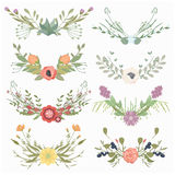 Vector illustration of a set of flower wreaths Stock Photos