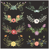 Vector illustration of a set of flower wreaths Royalty Free Stock Photo