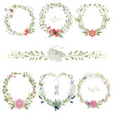 Vector illustration of a set flower wreaths Stock Images