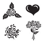 Vector illustration of set of flowers with heart on white background Stock Photo