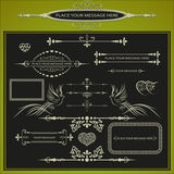 Vector illustration of a set of frames, ornaments for the text, silhouettes of doves and hearts Royalty Free Stock Photography