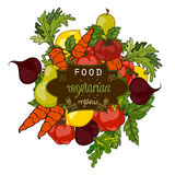Vector illustration. Set of fresh fruits and vegetables Stock Photos