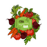 Vector illustration. Set of fresh fruits and vegetables Royalty Free Stock Photography