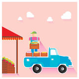 Vector illustration set fruit market vendors pickup. Vector illustration of the fruit market vendors pickup Royalty Free Stock Photo