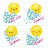 Vector illustration set of funny cartoon sun with. Vector illustration of set of funny cartoon sun with different e Royalty Free Stock Images